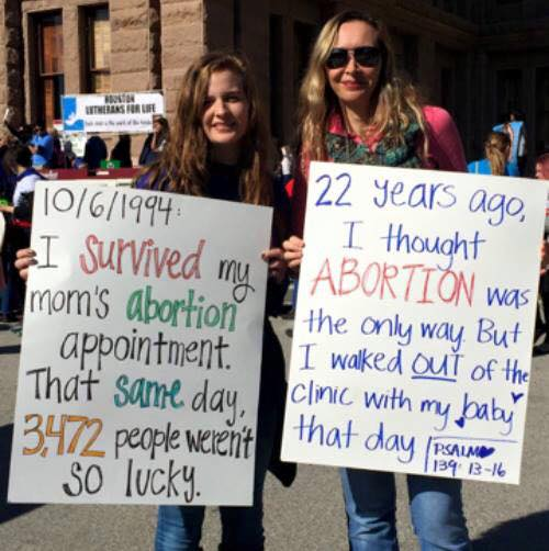 mom and daughter anti-abortion